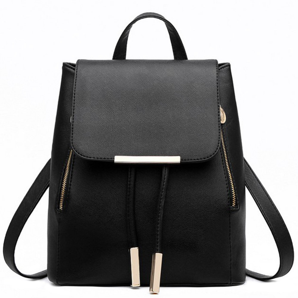 Fashion Solid Women Leather Backpacks Student School Zipper Rucksack for Teenage Girls Female Travel Bag Bolsa Mochila Feminina