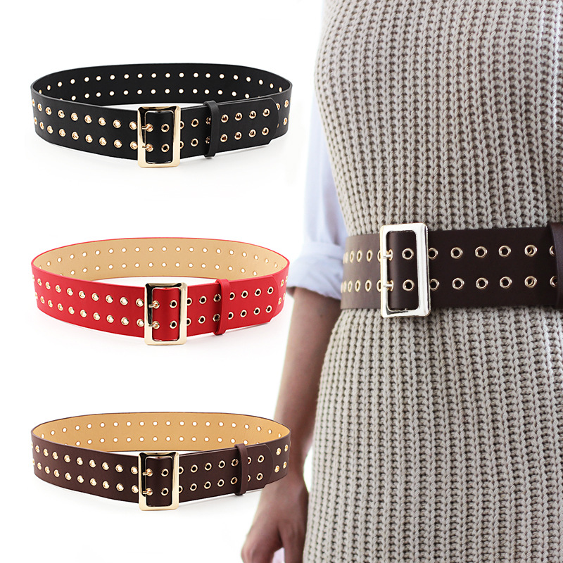 Fashion jeans belt dress wild double-breasted eyes double pin buckle wide trend ladies new