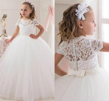 Lace Communion Ball Gown Flower Girls Dresses For Weddings 2016 Tulle Little Kids Dresses Formal Lace Christmas Pageant Gowns