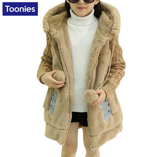 Hot Sale Girls Clothes 2016 Winter Cardigan Coat Cute Ear Hooded Thick Warm Sweater Outwear Children Clothing Sweater for Girls