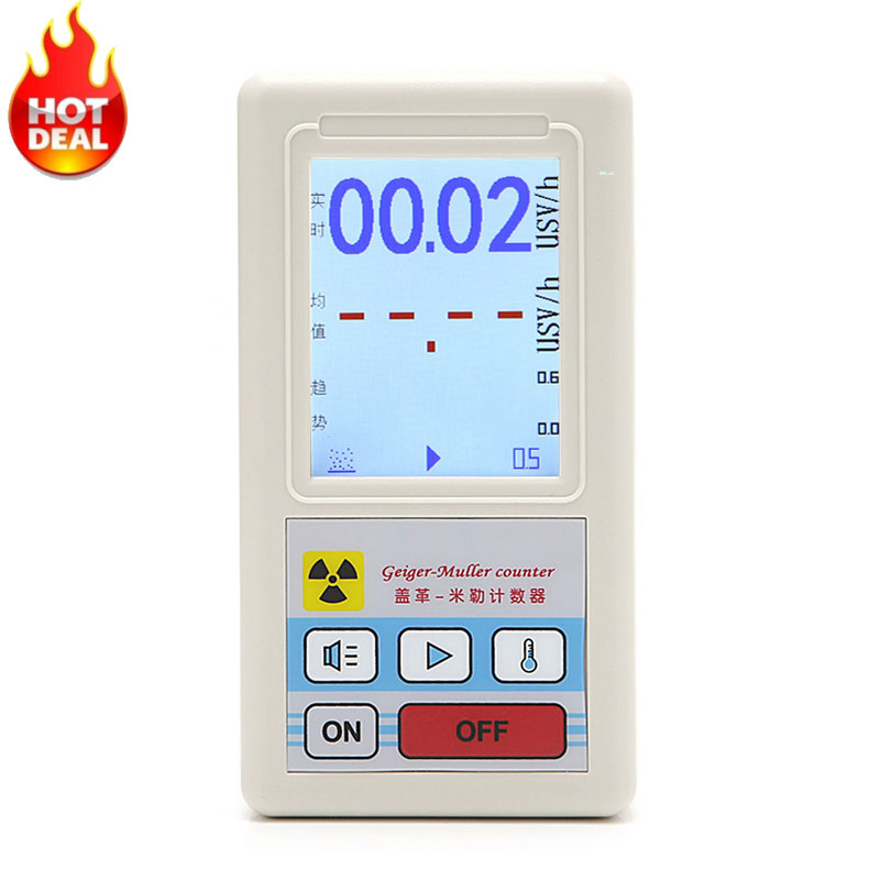 лучшая цена Counter Nuclear Radiation Detector Dosimeters Marble Tester With Display Screen Radiation Dosimeter Geiger Counters