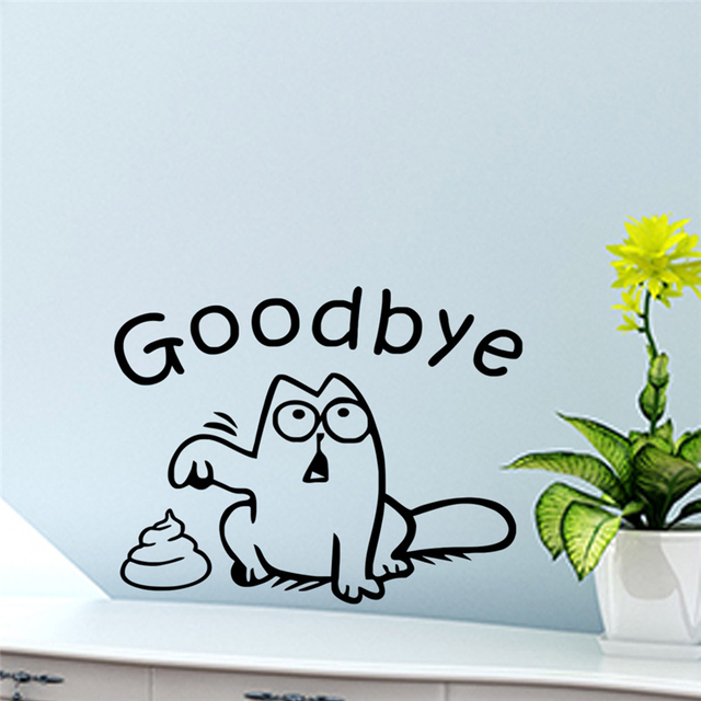 funny black cat toilet seat wall sticker bathroom car tank window home decor cartoon animal say goodbye decals vinyl mural art
