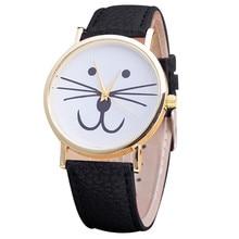 Adorável Gato Bonito Relógios Mulheres Meninas Fashion Dress Relógio de Pulso PU Pulseira De Couro Relógio de Quartzo Para As Mulheres-relógio Reloj Mujer 2016