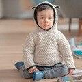2016 de Alta Qualidade Designer de Blusas De Malha Do Bebê Outono Inverno Meninos e Meninas Do Bebê Camisola Roupas de Algodão Coelho 3D para 1-4y