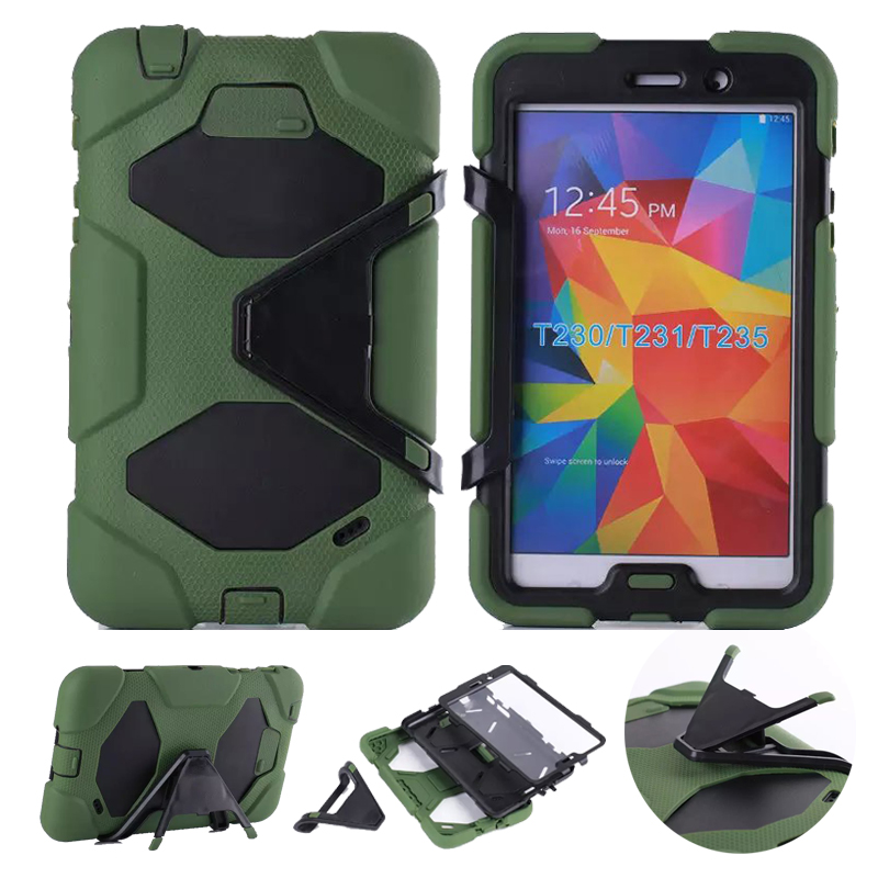 3 in 1 Hybrid Heavy Duty Shockproof Dual Layer Military Armor Back Cover Case For Samsung Galaxy Tab 4 7.0 T230 T231 T235 Coque metal ring holder combo phone bag luxury shockproof case for samsung galaxy note 8