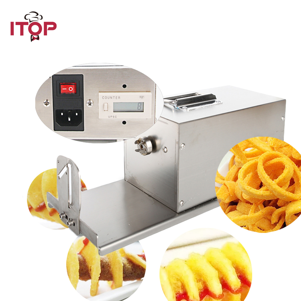 ITOP Commercial Electric Potato Twister Tornado Slicer Machine Automatic High Quality Potato Spiral Cutter EU/US Plug electric chinese yam chip machine twister tornado spiral potato hot dog cutter cutting machine