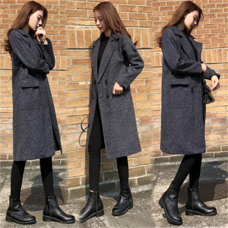 c35ea3a806a30 Coréenne Lâche Solide Nouvelle De Femelle Couleur Mode 2018 D hiver Long  Version Et Ms Occasionnel Mince 1 2 Tendance Manteau Femmes Automne  wY8YFzW7q4