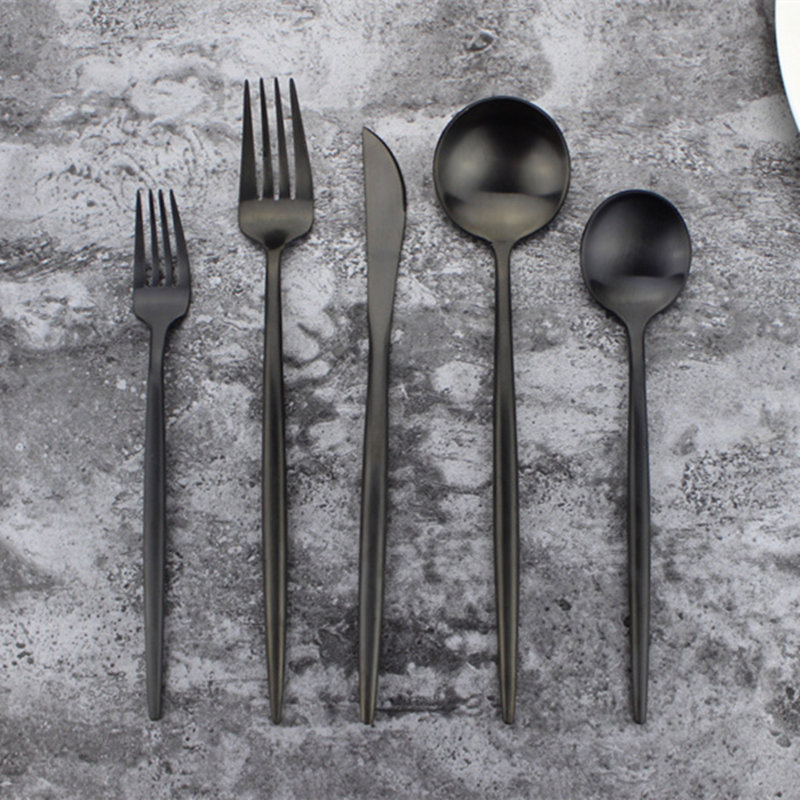 20pcs KuBac Hommi 18 10 Quality Stainless Steel Medium Dessert Fork Party Dinnerware Set Matte Black