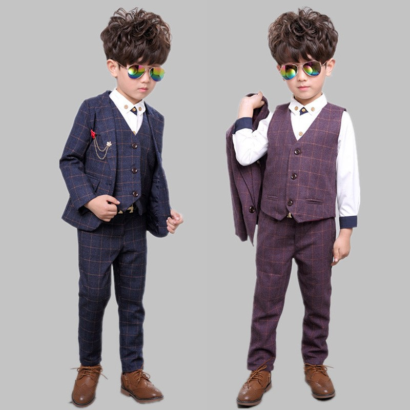 Online Shop 2016 Brand New Boys Lattice Formal Wedding Suit England ...