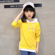 Купить с кэшбэком Children's clothing 2019 autumn new hooded girl primer yellow long-sleeved cotton sweater 3-12 years old baby girl clothes