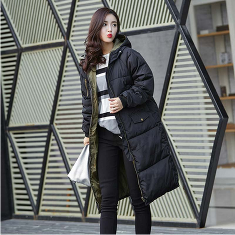 European new 2016 winter Warm thick long Wadded Jacket women high quality fashion hooded loose plus size down cotton Coat AE748
