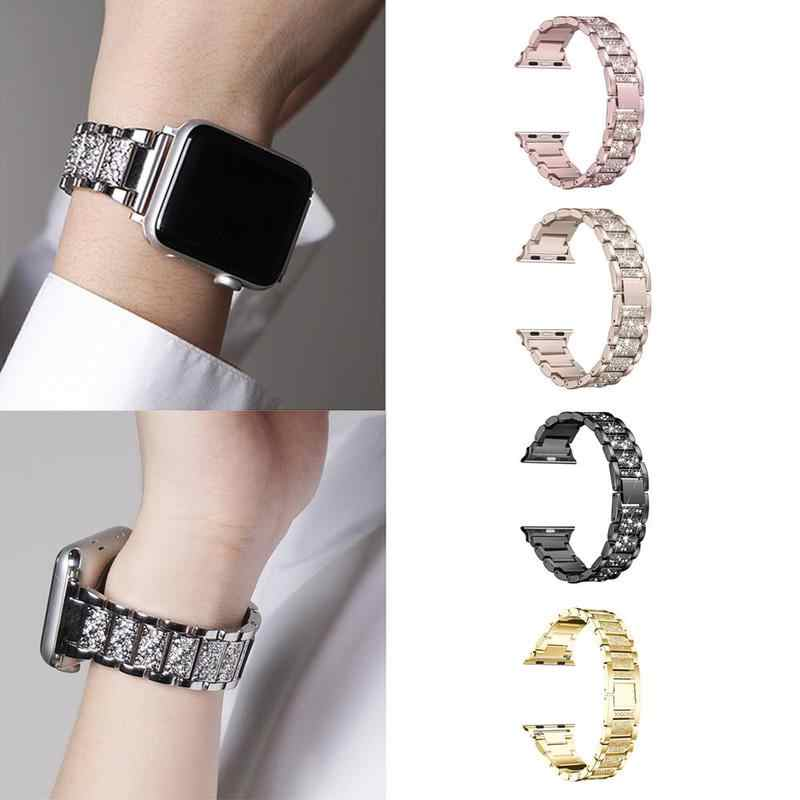 Crystal Alloy Watch Band Wrist strap Smart Wristband Bracelet Wearable Belt Strap with Rhinestone For Apple watch 3