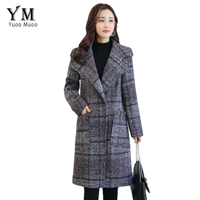 Cachemire Plaid Laine Mode Bleu Chaude De long Manteau Marque gris Yuoomuoo Conception Veste Femmes Européenne Outwear D'hiver Moyen fS6Wxq5A5w