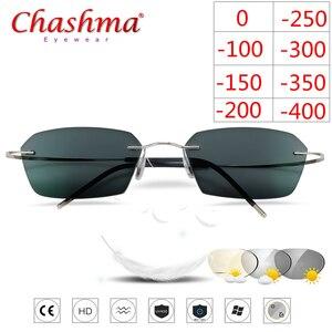 Image 1 - Occhiali senza montatura In Titanio Telaio Fotocromatiche Miopia occhiali Delle Donne Degli Uomini Chameleon Occhiali Lente con Diottrie 1.0 1.5 2.0 2.5 3.0