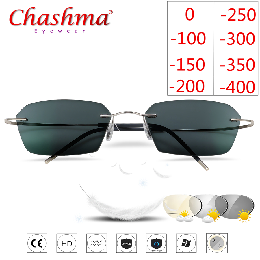 Rimless Titanium Glasses Frame Photochromic Myopia glasses Men Women Chameleon Glasses Lens with Diopters  1.0 1.5 2.0 2.5 3.0-in Men's Eyewear Frames from Apparel Accessories