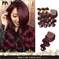 Burgundy Brazilian Body Wave 3 Bundles Burgundy Brazilian Hair Weave Bundles Red Wine 99J Brazilian Virgin Hair With 4x4 Closure