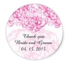 1.5inch Pink carnation wedding favor tags carnation1 classic round sticker