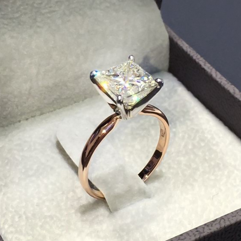 1 Pcs New Gold Color Square Shape Ring Princess Cut Stamp For Women Pave Zircon Stone Wedding Jewelry Inlaid Rings Кольцо