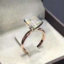 d362c28b414b 1 piezas nuevo oro Color cuadrado forma anillo princesa corte sello para  las mujeres pavimenta el Zircon piedra joyería de la bo.