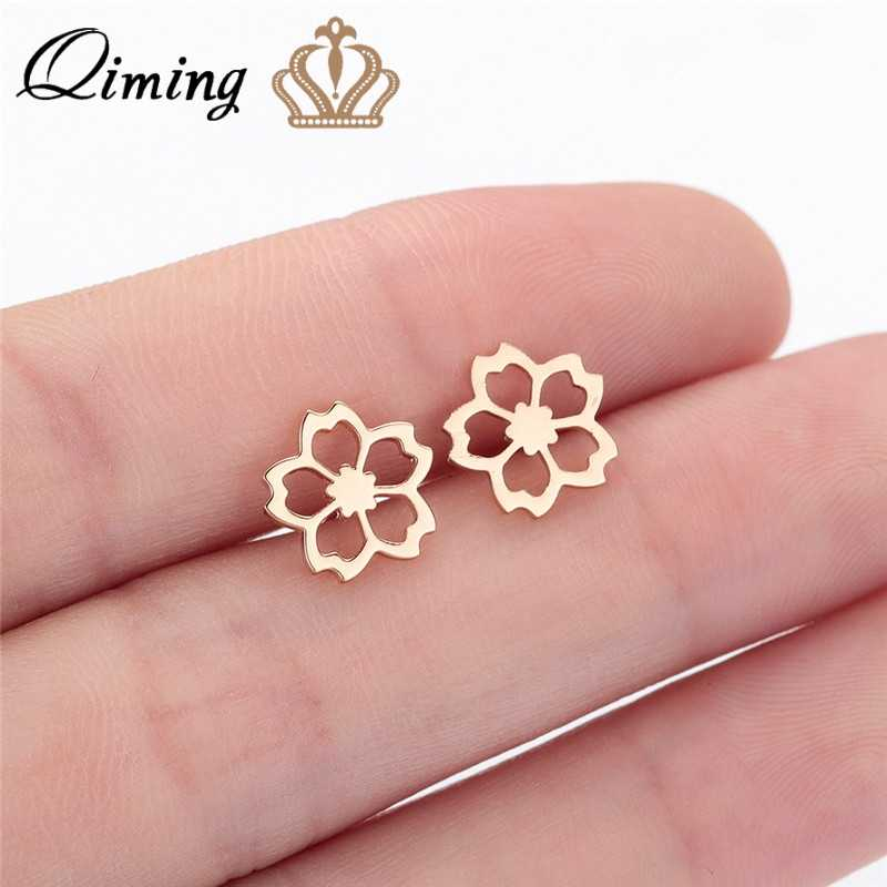 QIMING Hollow Out Cherry Flower Earrings For Women Minimalist Small Flora Rose Gold Tiny Stainless Steel Stud Earrings Female