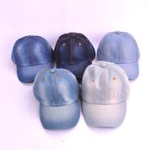 2019 niños Denim gorra de béisbol de Color puro del Snapback sombreros Jean niños  niñas sombreros b01788f0735