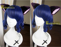 Show by Rock!! Cyan Hijirikawa Shian Dark Blue Curly Cosplay Wig + Free Wig Cap Free Plush Ear