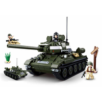 687pcs 2in1 WW2 World War II Military T34/85 2 Tanks Building Blocks Bricks Toy compatible with legoing