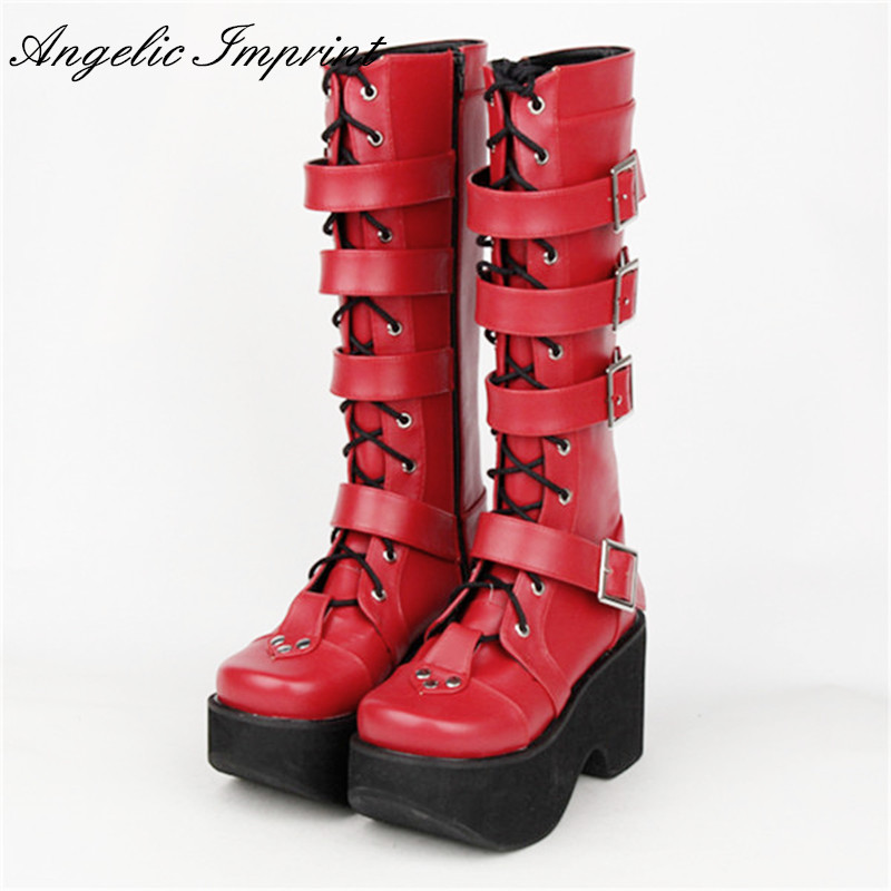 Japanese Harajuku Thick Platform Punk Goth Cosplay Boots Women Burgundy Leather Buckle Straps Lace Up High Boots burgundy cami playsuit with lace details