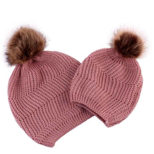 البوب أمي الأم الطفل عمامة عقدة بوم قبعة مزركشة الاطفال فتاة الفتيان الشتاء الدافئة قبعة قبعات