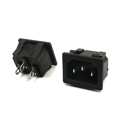 AC250V 15A 3Pin Terminal IEC320 C14 Inlet Plug Power Socket Black 2 Pcs free shipping iec 320 c14 to saa australia 3 pin female power adapter for pdu ups ac plug converter wpt604
