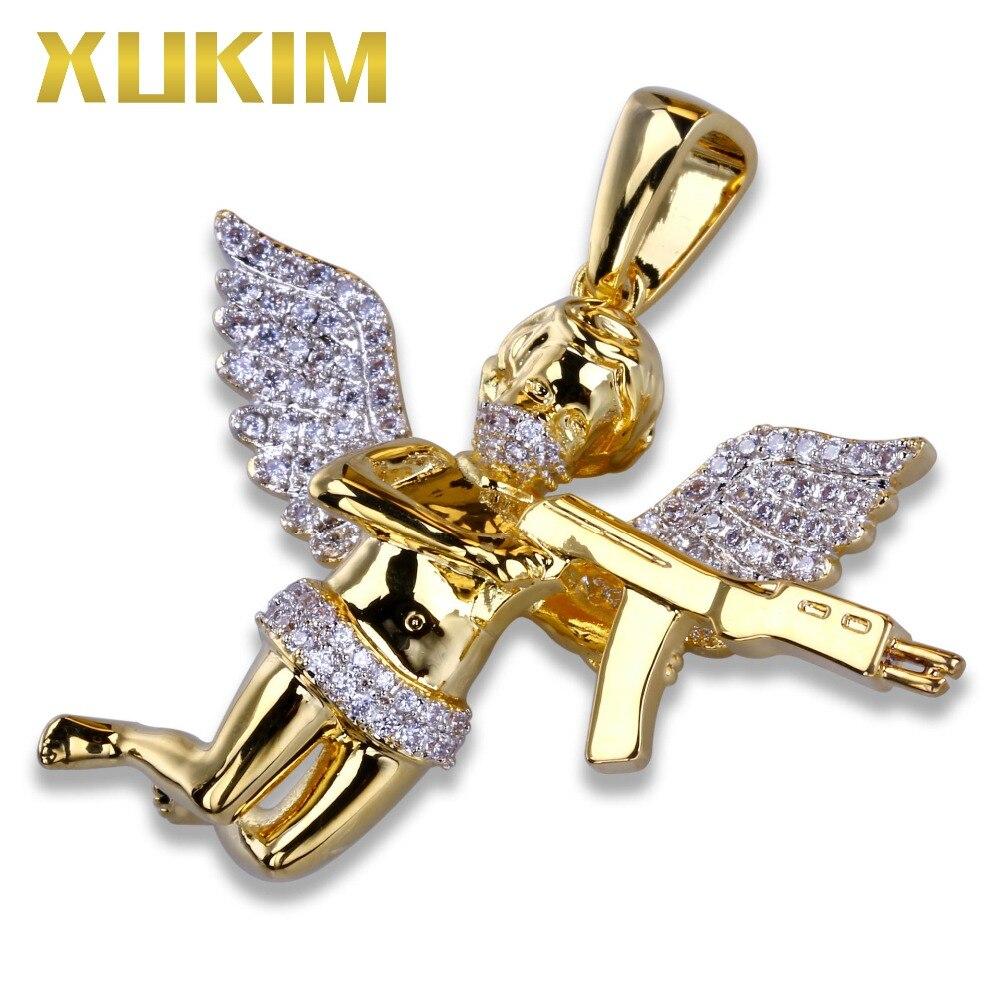 Xukim bijoux couleur or mignon amour cupidon ange tenant pistolet pendentif collier cubique Zircon glacé sur rappeur Hip Hop bijoux cadeau