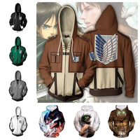 Attack on Titan Shingeki no Kyojin Hoodie Sweatshirts Zipper Coat Jacket 3D Costume Cosplay Anime