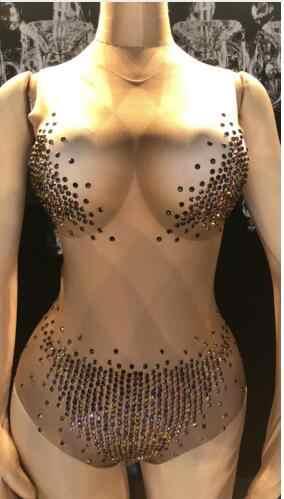 Модные 3 цвета блестящие стразы трико сексуальный костюм диджей певича ночной клуб танец камни обтягивающий облегающий Костюм Стретч