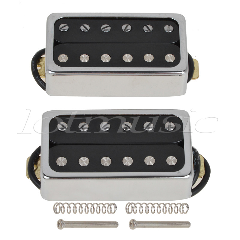Kmise Electric Guitar Pickups Humbucker Double Coil Pickup Bridge Neck Set Guitar Parts Accessories Black with Chrome Gold Frame kmise chrome plated metal truss rod cover for electric guitar replacement pack of 50