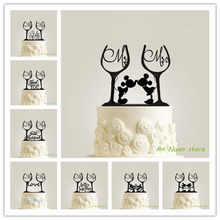 New Wine Glass Style Cake Topper Acrylic Mr Mrs Letter