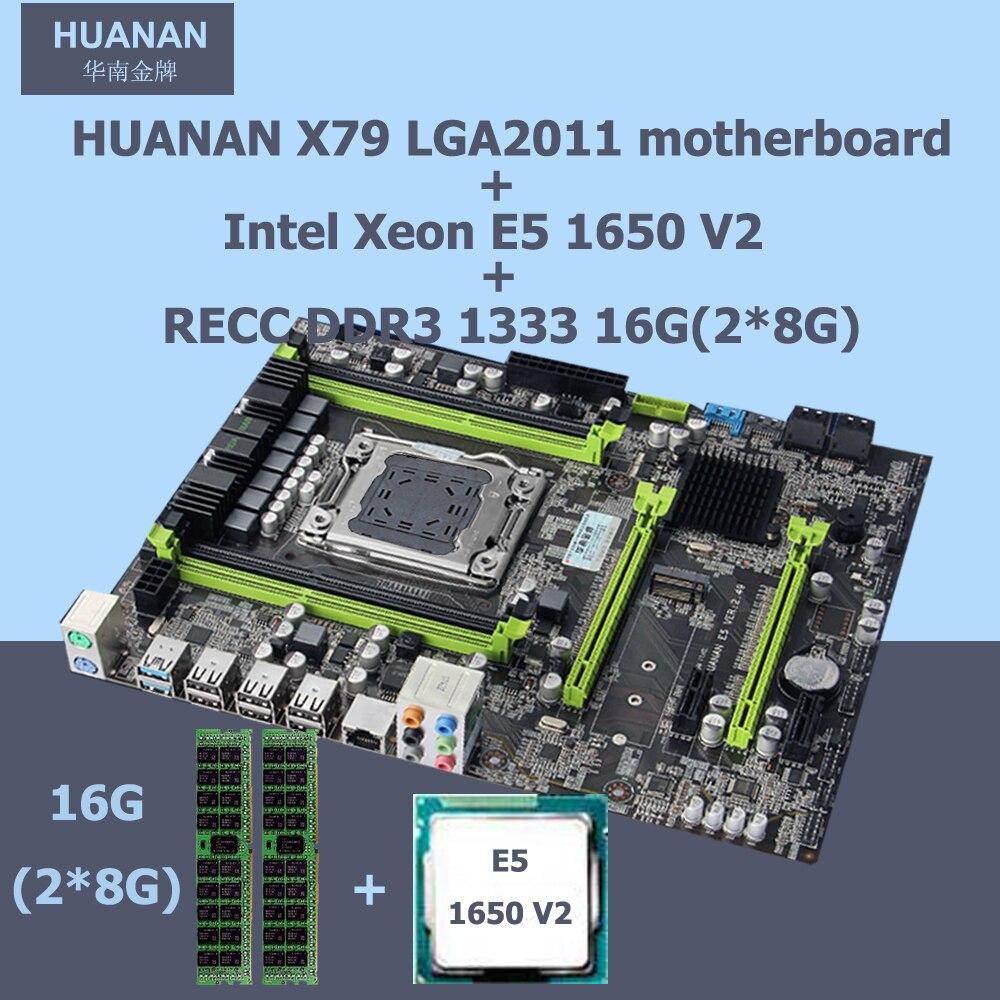 HUANAN 2 49 X79 Motherboard CPU RAM Combos Intel Xeon E5 1650 V2 Memory 16G 2