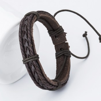 New arrived Fashion Charm Leather Men's Bracelets Popular boys Alloy Bangle DIY Handmade Cross Bracelets ! 1