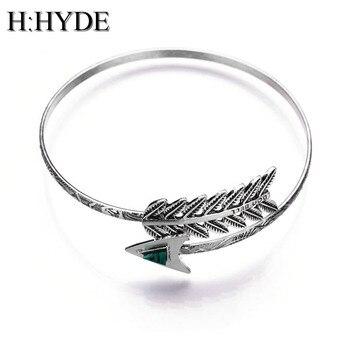 H:HYDE Gothic Punk Women Men Arrow Bangle Cuff Bracelets Jewelry Open Adjustable Feather Leaf Bracelet Rose Gold Bangles Bijoux bangle