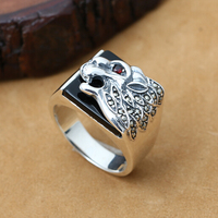 NEW 925 Silver Leopard Ring Male Ring Vintage Thailand Silver Leopard Man Ring Animal Symbol Ring