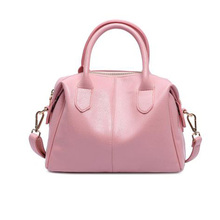 2016 Boston Fashion Genuine Leather Crossbody Messenger Bags Handbags Women Famous Brands Designers Large Capacity Tote Bag Pink