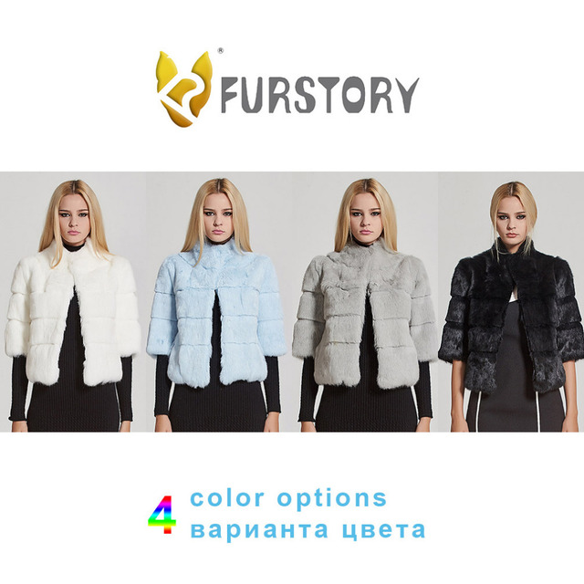 Women's Short Real Rabbit Fur Coat Winter Fashion Warm Jacket Half Sleeve Turn-down Stand-up Collar Fur Story 17110N