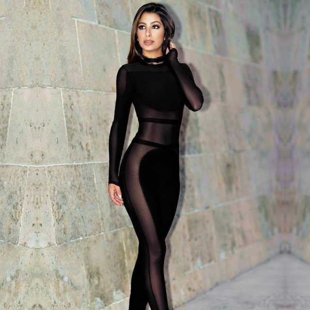 bd255a2e549a Modphy 2018 new fashion women sexy mesh see through long full sleeves black  autumn bandage jumpsuit dropshipping HL745