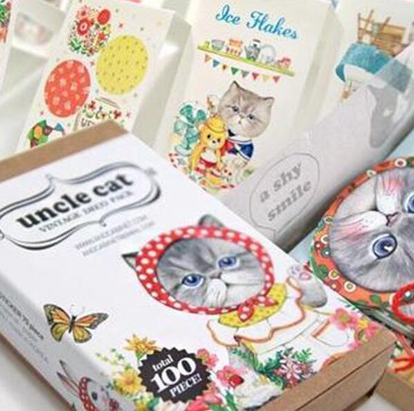 Box Package Uncle Cat Decorative Stickers Diary Sticker Scrapbook Decoration PVC Stationery Stickers with Bookmark Mini Card auto accessories chameleon sticker 30m 1 52m functional car pvc red copper color stickers home decorative films stickers
