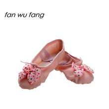 fan wu fang Bowtie Ballet Dance Shoes Women Soft Canvas Wave Point For Girls Children Slipper Sneakers According The CM To Buy