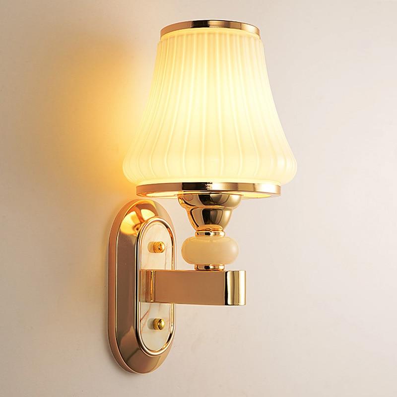 ФОТО Modern Single Head Glass Shade Wall Light E27 Creative Simple Metal Wall Sconces Balcony Hallway Bedroom Lighting Fixture WL282