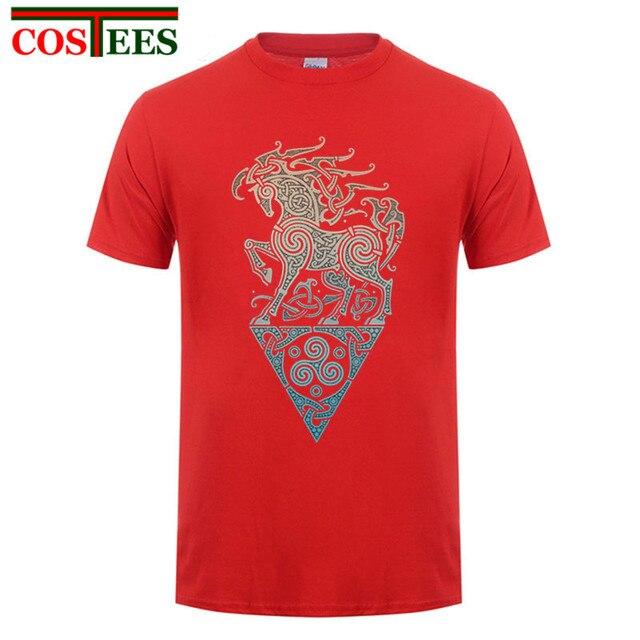 Viking shirt Designer Artwork Odins steed raidho horse Men T Shirt New Printed Vikings T-shirt Short Costume Pre-cotton Tops Tee 4