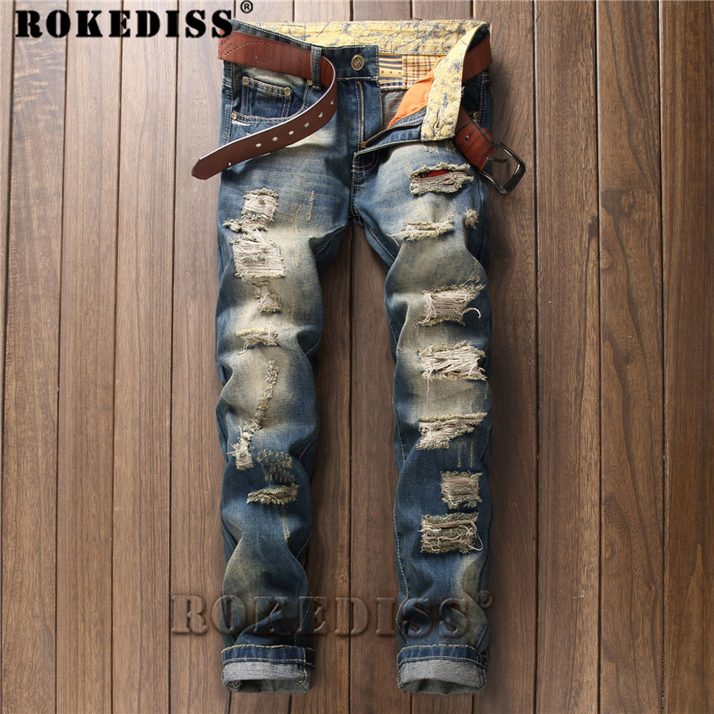 ripped jeans for men 2017 Spring and Autumn New products personality Retro Frayed Straight pants fashion Frayed trousers C171