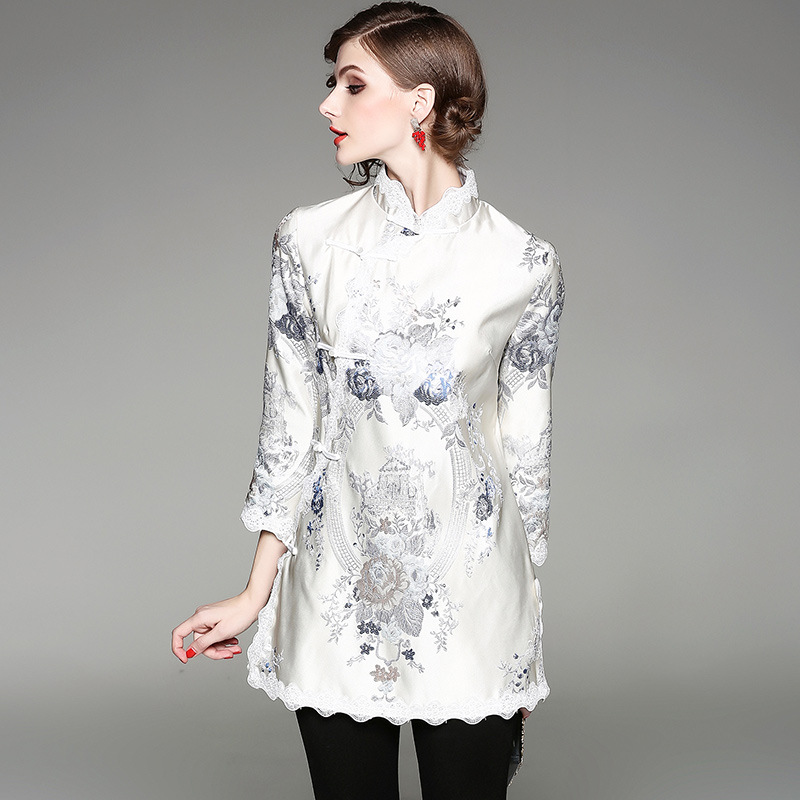 Élégant Patchwork Chinois Outwear Dentelle Femmes Style Nouvelle Saati Et Vestes Col Haute Mode Stand Kol Manteaux Lâche Beige Femelle Automne ZrB0w8qZ