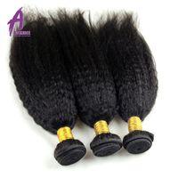 Alimice Kinky Straight Hair Human Hair Bundles Non Remy Hair Extension Brazilian Hair Weave Bundles Machine Double Weft