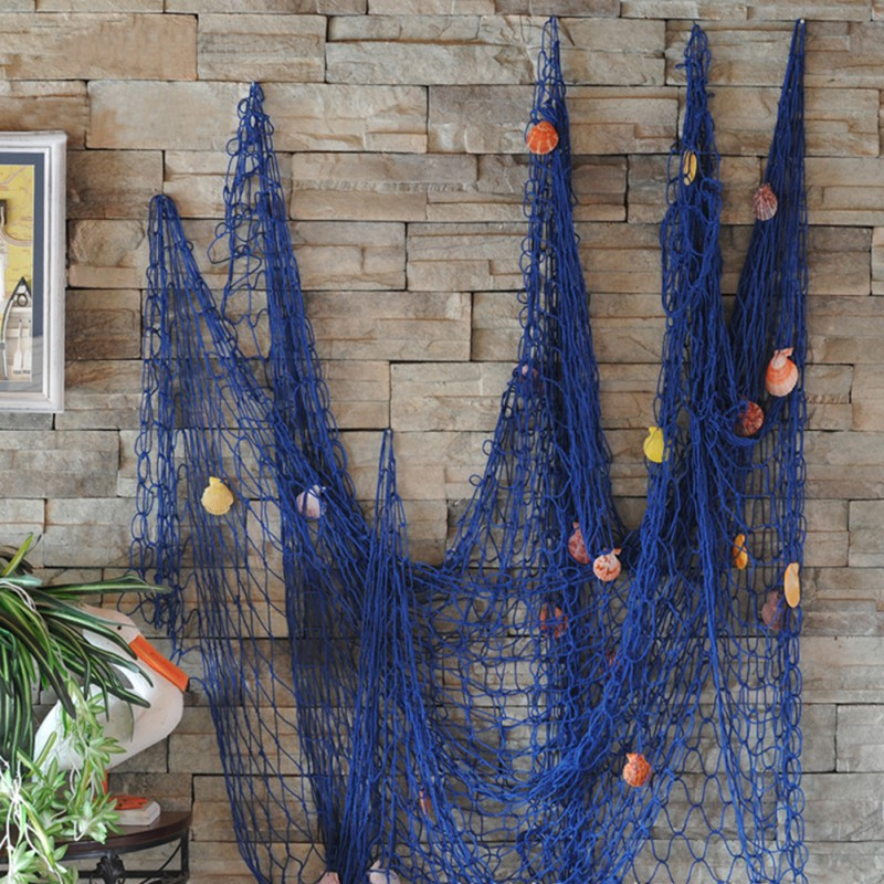 2M x 1M Modern Nautical Decorative Fishing Net Seaside Beach Shell Party Door Wall Decoration Home Decoration